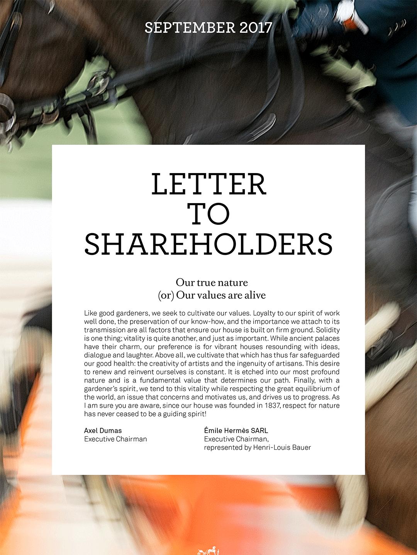 Cover Letter to shareholders - Sept. 2017