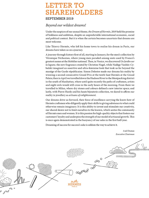 Cover Letter to shareholders - Sept. 2019