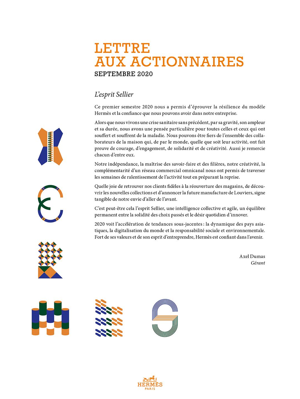 Couverture Lettre aux actionnaires - Sept. 2020