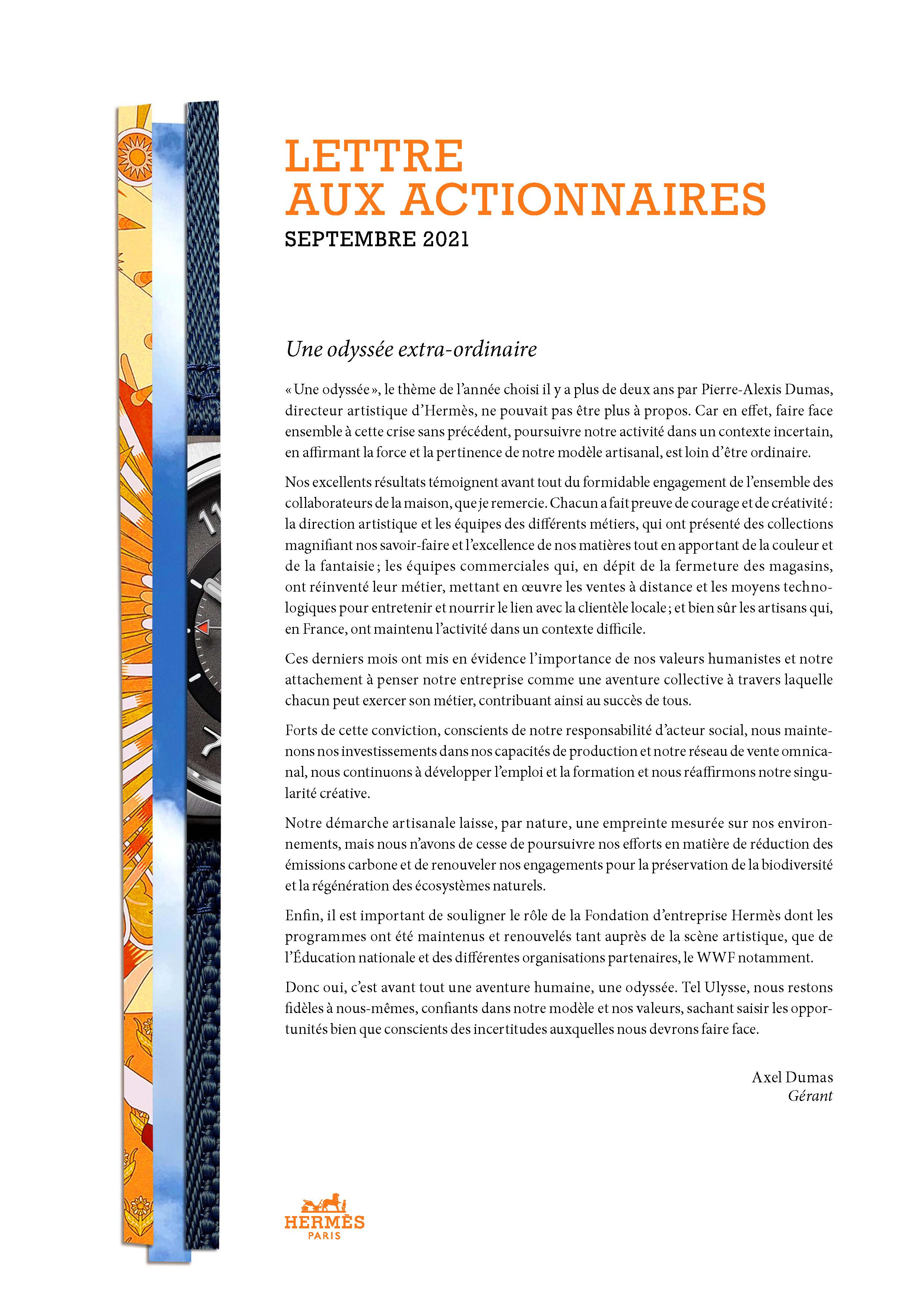 Couverture de la Lettre aux actionnaires, septembre 2021