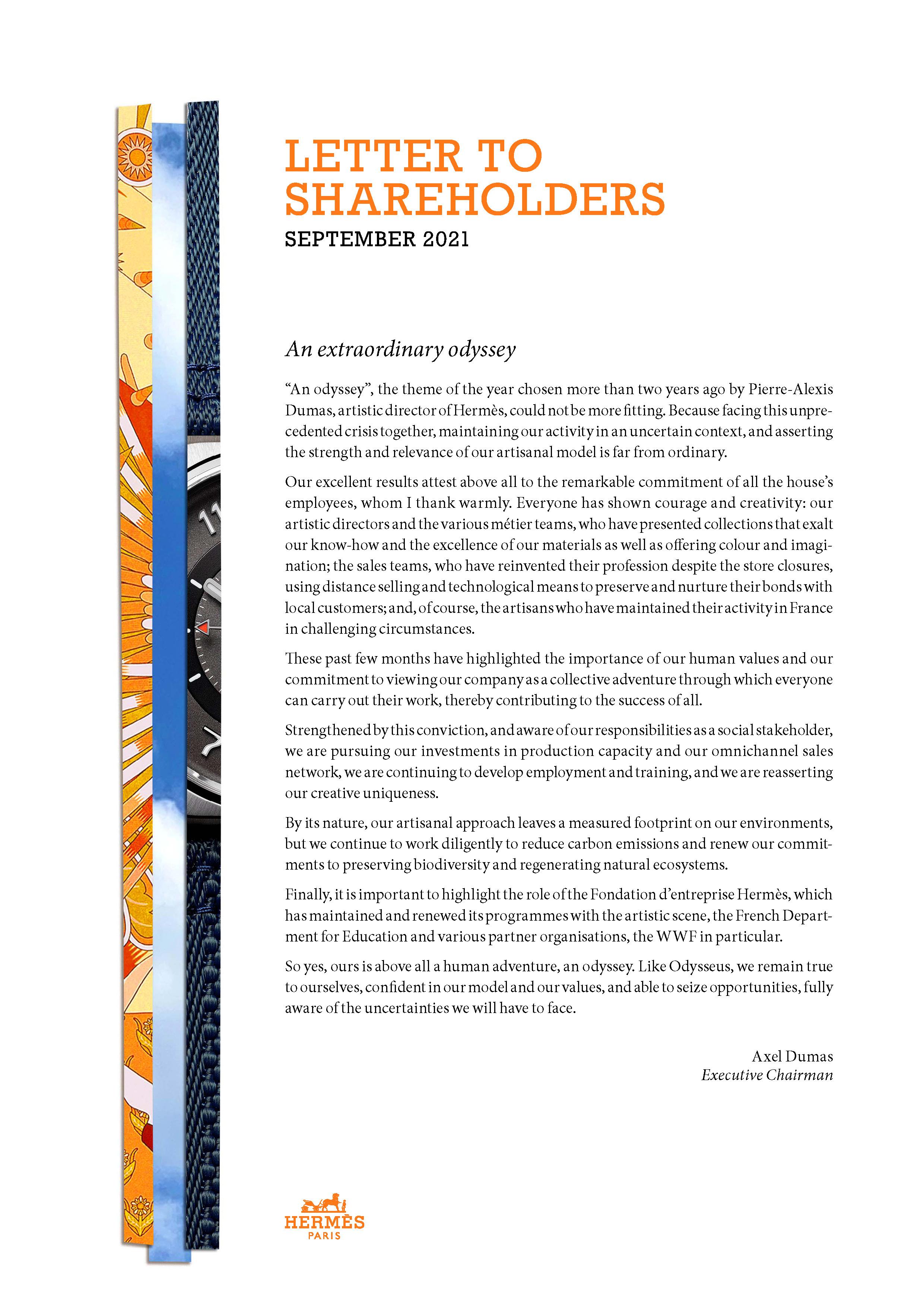 Cover of the shareholders letter, september 2021